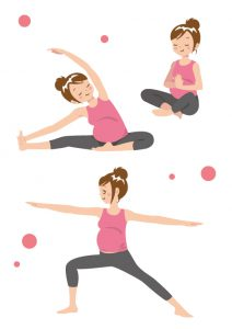 体操を行う妊婦さん